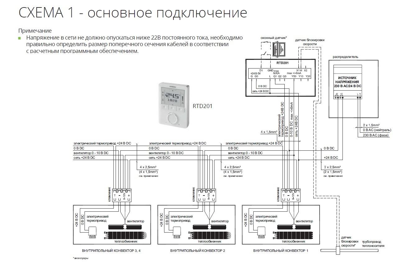 Основная схема подключения конвекторов Isan